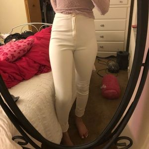 White Missguided high waisted skinny jeans